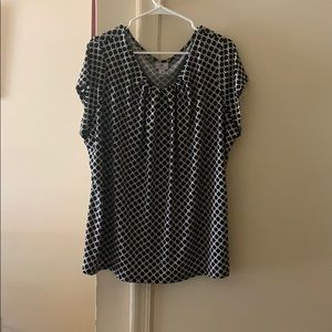 Black and white work blouse